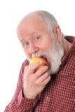 Mangeur d'hommes supérieur de Cheerfull la pomme, d'isolement sur le blanc Photos libres de droits