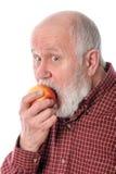 Mangeur d'hommes supérieur de Cheerfull la pomme, d'isolement sur le blanc Photo stock