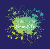 Mangez bien, gardez l'active et la vie amoureuse illustration de vecteur