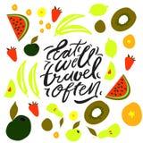 Mangez bien, voyage souvent Lettrage de main Fruits et fond de veggies illustration stock