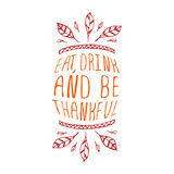 Mangez, boisson et soyez reconnaissant - élément typographique illustration stock