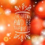 Mangez, boisson et soyez reconnaissant - élément typographique illustration de vecteur