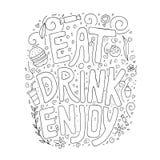 Mangez, buvez, appréciez Croquis de griffonnage de texte tiré par la main dans la forme illustration stock