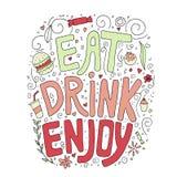 Mangez, buvez, appréciez Texte coloré tiré par la main de griffonnage avec des éléments illustration libre de droits