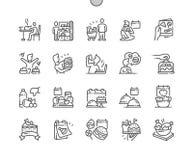 Mangez ce que vous voulez la ligne mince icônes de vecteur parfait de pixel Bien-ouvrée par jour illustration de vecteur