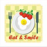 Mangez et souriez - tomate et oeuf au plat illustration stock