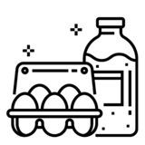 Mangez illustration au trait laiterie illustration stock
