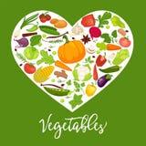Mangez l'affiche commerciale saine avec les légumes savoureux à l'intérieur du grand coeur Bannière pour encourager des personnes illustration stock