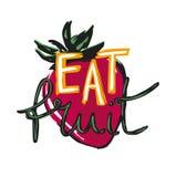 Mangez l'affiche de fruit avec la fraise sur le blanc illustration stock