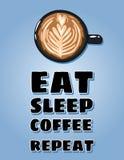 Mangez l'affiche de r?p?tition de caf? de sommeil Tasse de carte postale de caf? Illustration mignonne de style tir? par la main  illustration de vecteur