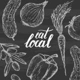 Mangez l'affiche locale Photographie stock libre de droits