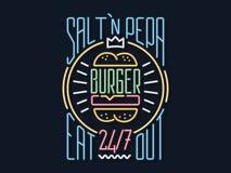 Mangez l'enseigne au néon d'hamburgers Photographie stock