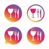 Mangez l'icône de signe Couteau, fourchette et verre à vin illustration libre de droits
