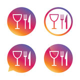 Mangez l'icône de signe Couteau, fourchette et verre à vin illustration de vecteur