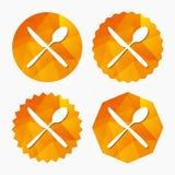 Mangez l'icône de signe Symbole de couverts Couteau et cuillère illustration stock