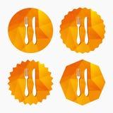 Mangez l'icône de signe Symbole de couverts Couteau et fourchette illustration stock