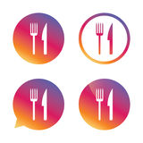 Mangez l'icône de signe Symbole de couverts Fourchette et couteau illustration stock