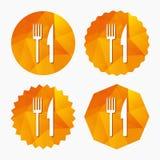 Mangez l'icône de signe Symbole de couverts Fourchette et couteau illustration de vecteur