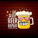 Mangez l'illustration de concept de vecteur de répétition de bière de sommeil ou l'affiche d'été dirigez le caractère génial de b illustration de vecteur