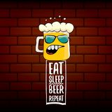 Mangez l'illustration de concept de vecteur de répétition de bière de sommeil ou l'affiche d'été dirigez le caractère génial de b illustration libre de droits