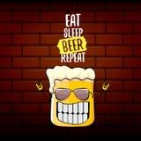 Mangez l'illustration de concept de vecteur de répétition de bière de sommeil ou l'affiche d'été dirigez le caractère génial de b illustration stock