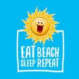 Mangez l'illustration de vecteur de répétition de plage de sommeil ou l'affiche d'été dirigez le caractère génial du soleil avec  illustration stock