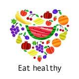 Mangez la bannière saine de motivation avec des fruits dans le style mignon de brosse à la mode Illustration de vecteur illustration de vecteur