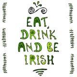 Mangez la boisson et soyez irlandais Carte du jour de St Patrick Style de griffonnage de Savoyar illustration stock