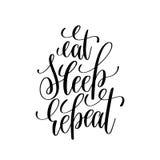 Mangez la calligraphie moderne noire et blanche de brosse de répétition de sommeil illustration stock