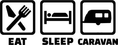 Mangez la caravane de sommeil illustration libre de droits