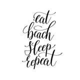 Mangez la citation inspirée de répétition de sommeil de plage au sujet du voyage d'été illustration stock