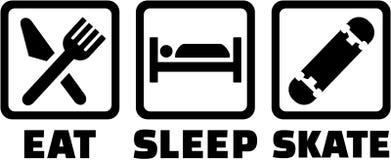 Mangez la planche à roulettes de patin de sommeil illustration de vecteur