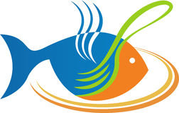 Mangez le logo de poissons illustration stock