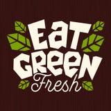 Mangez le logo vert d'aliment biologique l'emblème que sain laisse les ingrédients frais naturels verts emboutissent l'icône d'is illustration de vecteur