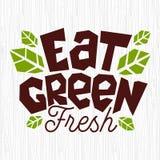 Mangez le logo vert d'aliment biologique l'emblème que sain laisse les ingrédients frais naturels verts emboutissent l'icône illustration libre de droits