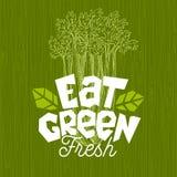 Mangez le logo vert, label de nourriture fraîche de ferme, illustration du bois de vecteur de conseil illustration libre de droits