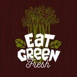 Mangez le logo vert, label de nourriture fraîche de ferme, illustration du bois de vecteur de conseil illustration stock