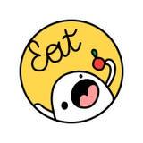 Mangez le logotype tiré par la main avec la guimauve et la pomme mignonnes illustration stock