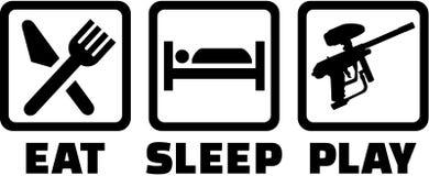 Mangez le Paintball de jeu de sommeil illustration de vecteur