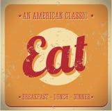 Mangez le signe de cru. Tout le classique américain illustration de vecteur