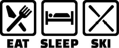 Mangez le ski de sommeil illustration stock