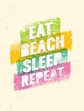 Mangez le sommeil de plage répétition Citation de motivation de vacances d'été Concept d'affiche de vecteur illustration de vecteur