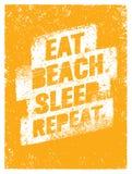 Mangez le sommeil de plage répétition Citation de motivation de vacances d'été Concept d'affiche de vecteur illustration libre de droits