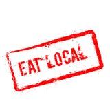 Mangez le tampon en caoutchouc rouge local d'isolement sur le blanc illustration stock