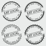 Mangez le timbre local d'insignes d'isolement sur le blanc illustration de vecteur