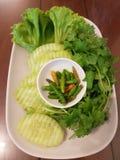 Mangez les légumes avec la nourriture Photo libre de droits