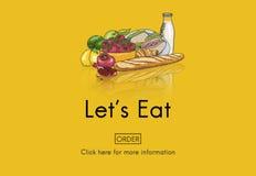 Mangez manger la nutrition vivante dinant le concept de nourriture de régime illustration stock