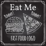 Mangez-moi Éléments sur le thème de la restauration Dessin de craie sur un tableau noir Logo, stigmatisant, logotype, insigne ave illustration stock