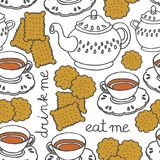 mangez-moi me boivent thé et des biscuits Photo libre de droits