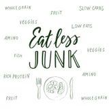 Mangez moins d'ordure ! Citation et fond calligraphiques au sujet de la consommation saine illustration libre de droits